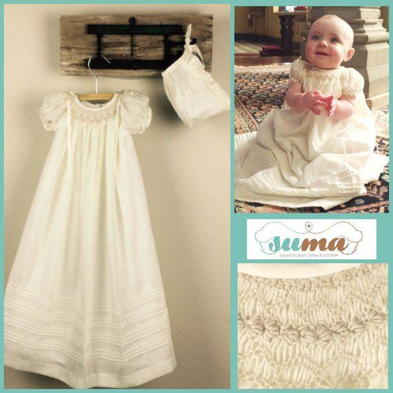 New Baby Girls Ivory Christening Baptism Dedication Dress Gown w// Bonnet