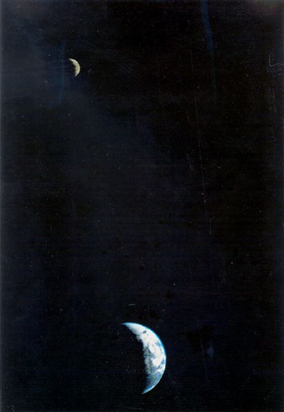 Crescent Earth and Moon from Voyager 1.   It was the first time a spacecraft had pictured both bodies in the same frame. Voyager was 11.66 million kilometers (7.25 million miles) from Earth on 1977-09-18 when this image was taken. (Credit: NASA / JPL)First Time, Trailblazers Image, Kilomet 7 25, Crescents Earth