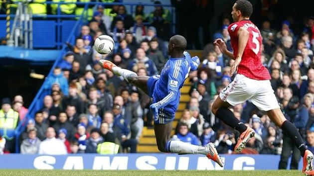 #Chelsea's Demba Ba scores against #ManU during their English #FACup quarter-final replay #soccer match at Stamford Bridge in #London (Reuters)