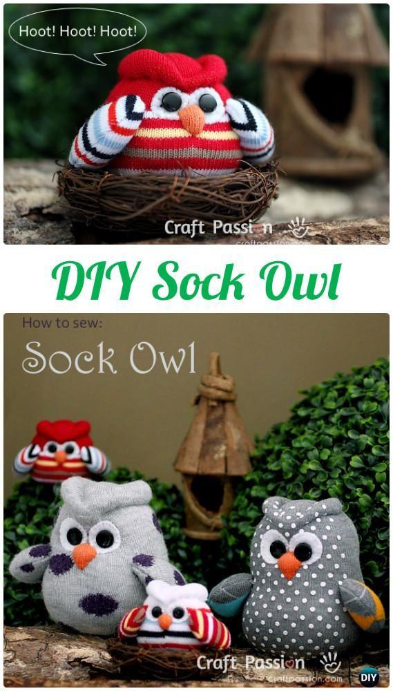 DIY Sock Owl Pillow Instructions-DIY Sew Owl Craft Projects