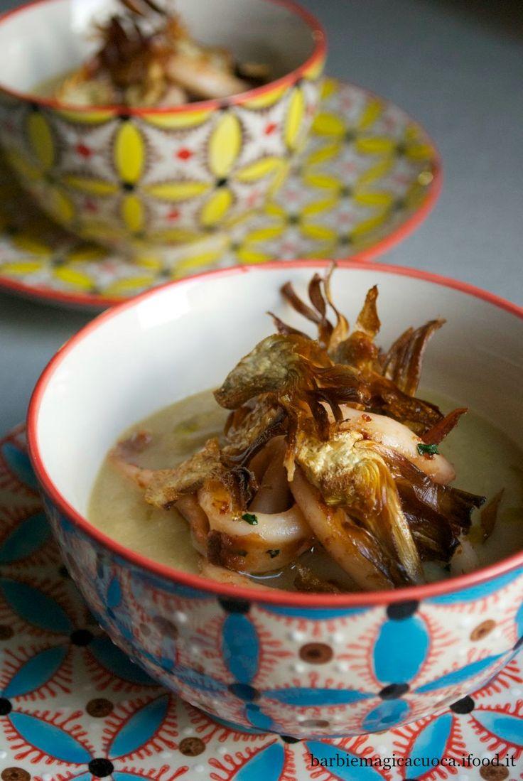 Vellutata di ceci con calamari e chips di carciofi