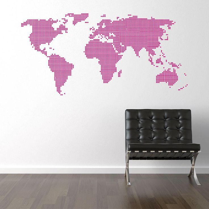 """Prickig världskarta väggdekor På TV-bänken, """"Bestå"""""""