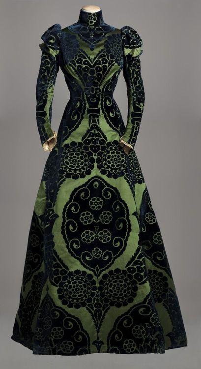 Worth Tea Gown - c. 1895 - House of Worth - Silk dress with a green satin underlay, featuring midnight blue satin designs. Silk green taffeta lining - Collection Musée Galliera
