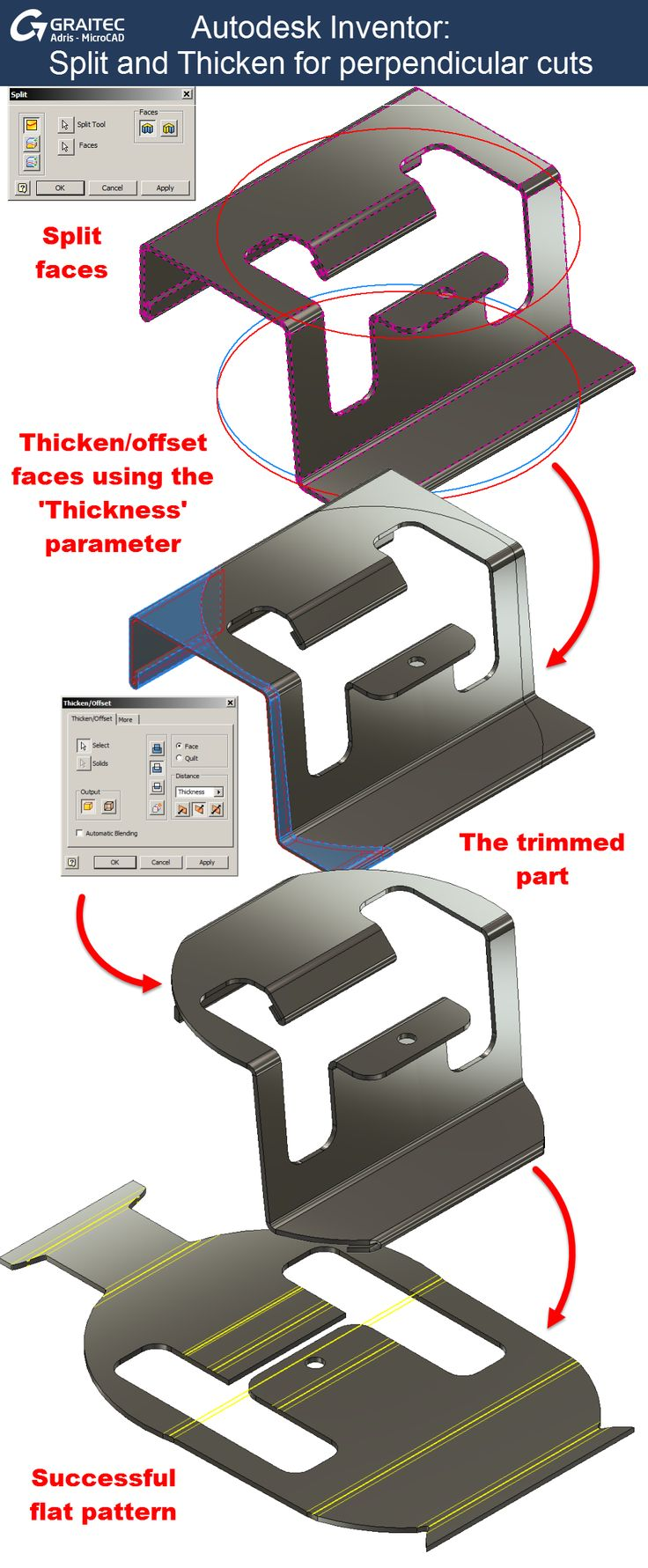 Graitec Autodesk Inventor Split and thicken for perpendicular cuts