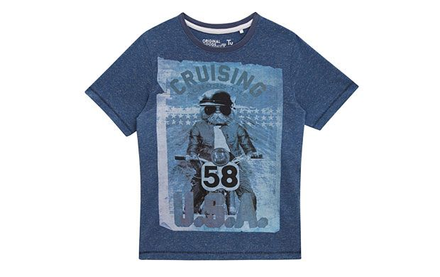"""Printed Trendy Tee. """"Your little boy will be one cool cat in this printed T-shirt that wouldn't look out of place on dad."""""""