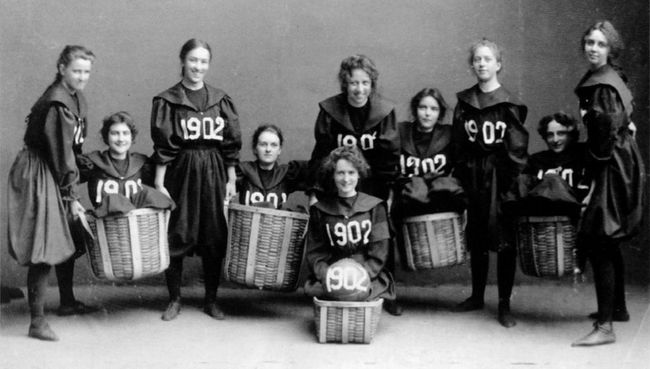 The first women's basketball team in 1902 might not look like much, but you have to like what they were doing.  With baskets.