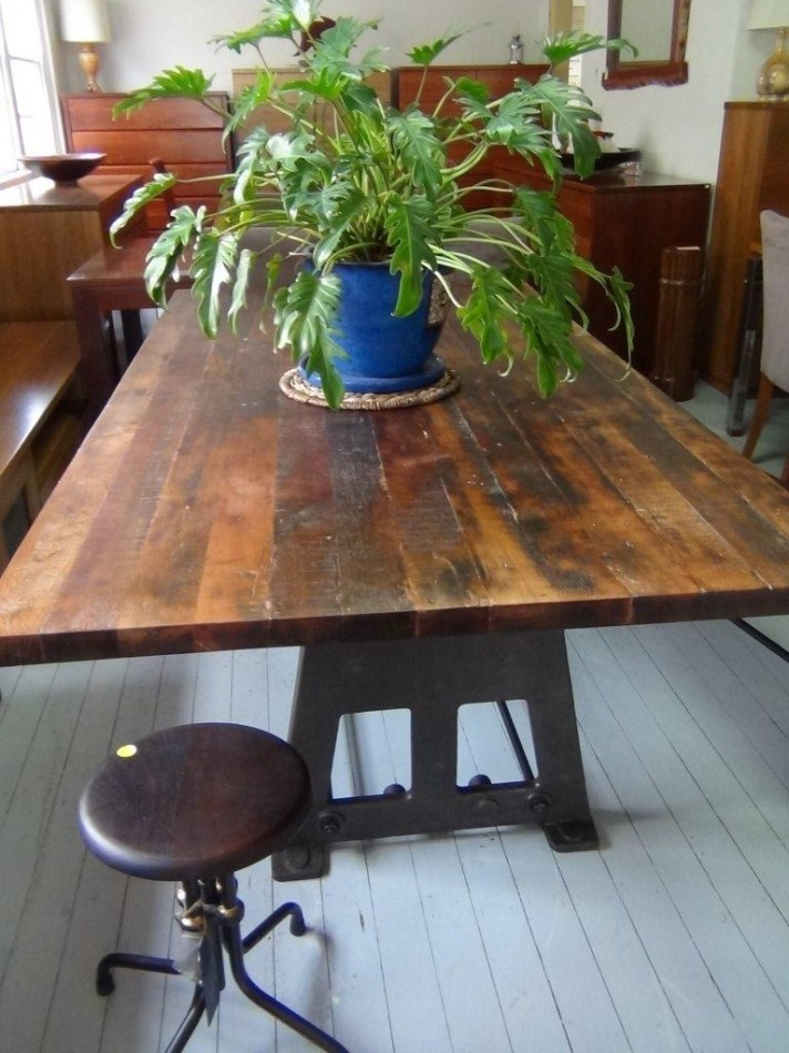 Recycled Timber with Industrial Steel Base Dining table