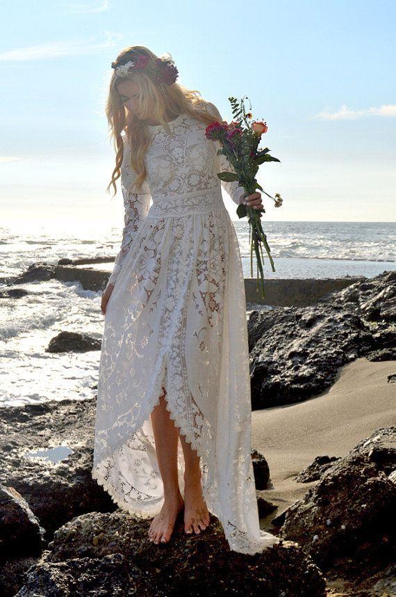 Dentelle boho victorien Edwardian Fishtail Hippie Festival Hi-Low Non traditionnelles jardin blanc Sari Vintage mariage robe Dinah