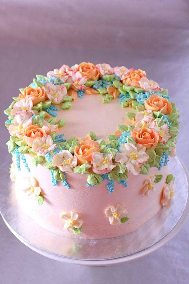 Spring Cake With Buttercream Flowers Cake By La Zina Cakes