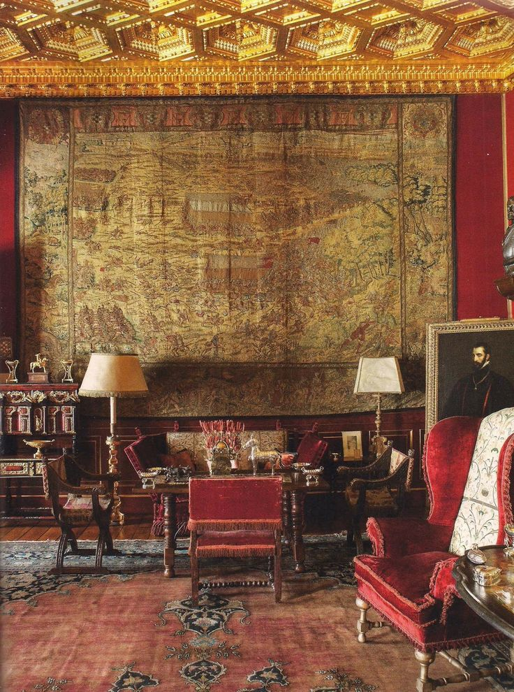 Hall of the Grand Duke hung with tapestries depicting battles. Photo by Ricardo Labougle via World of Interiors.