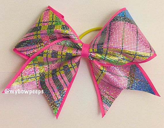 Pink plaid cheer bow by MyBowPeeps on Etsy