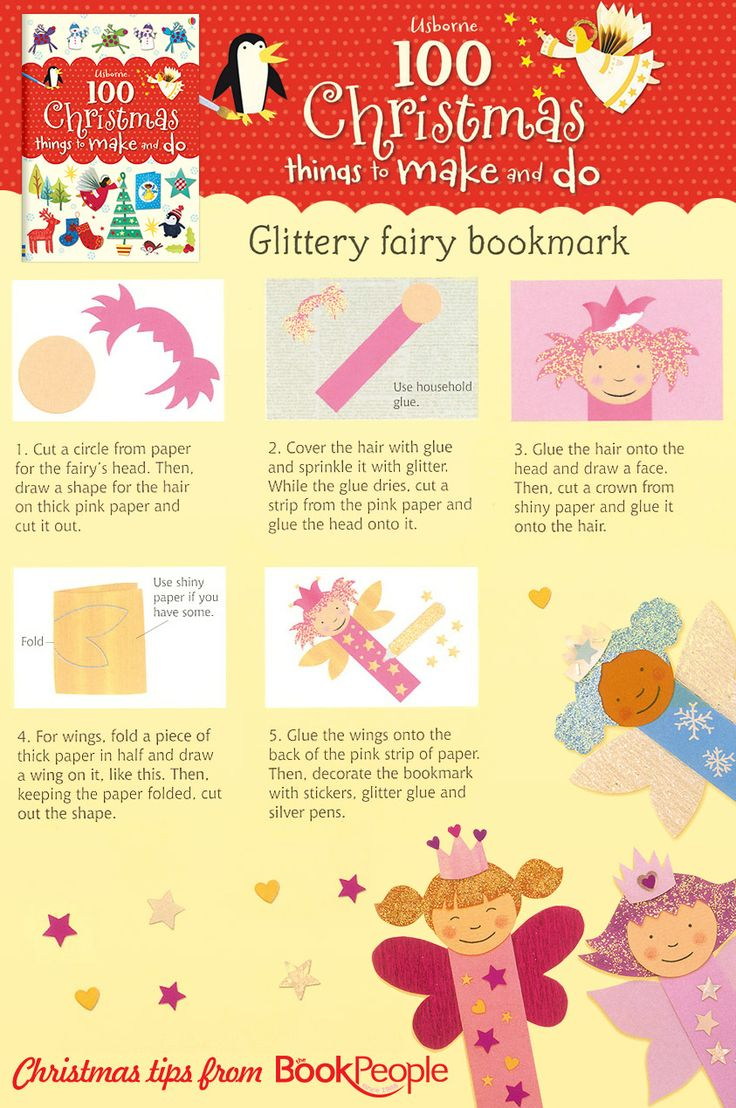 Glittery fairy bookmark craft idea from Usborne 100 ...