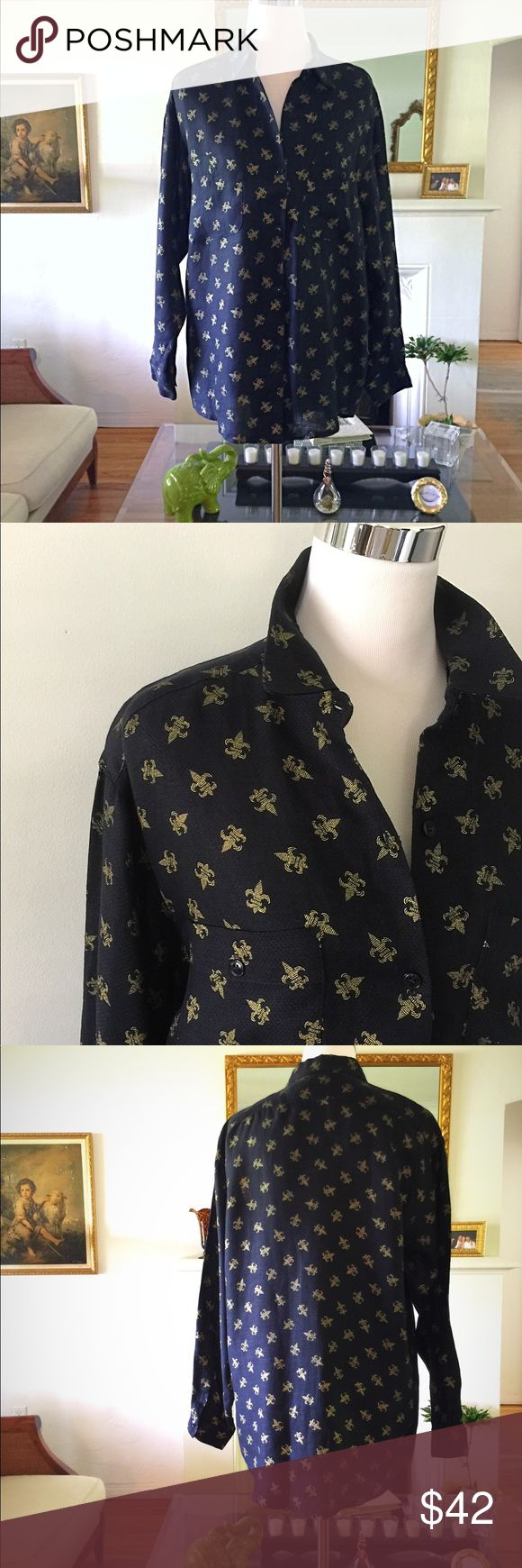 FLEUR DE LIS LINEN SHIRT Super chic ladies button down shirt. Rich, black Hong Kong linen with gold fleur de lis prints throughout.  Like all luxe linen, although it's sheer enough for light to shine thru, it's not at all see thru. This was tailor made for my aunt many years ago and best fits a full medium or small large. Finding a vintage piece of this fabric in such amazing condition is almost impossible 😉 Dry Clean Only.. Price Firm unless bundled ✨✌🏼💚😊✨ custom vintage Tops Button…