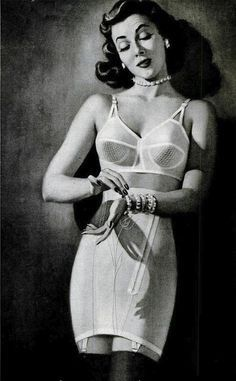 Formfit [1952] How all nice ladies prepared for going out in public in the 1950s. Don't forget your hat and gloves...and dress.