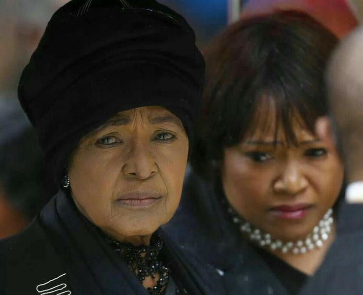 Winnie Mandela and daughter at memorial of Nelson Mandela
