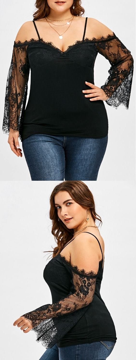 Plus Size Sheer Bell Sleeve Blouse