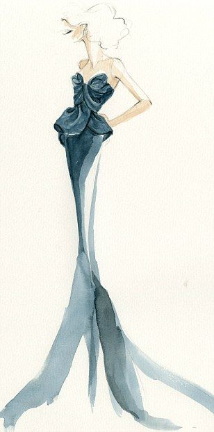 Watercolour fashion illustration - glam & feminine, fashion sketch. This is cool for sketches of characters