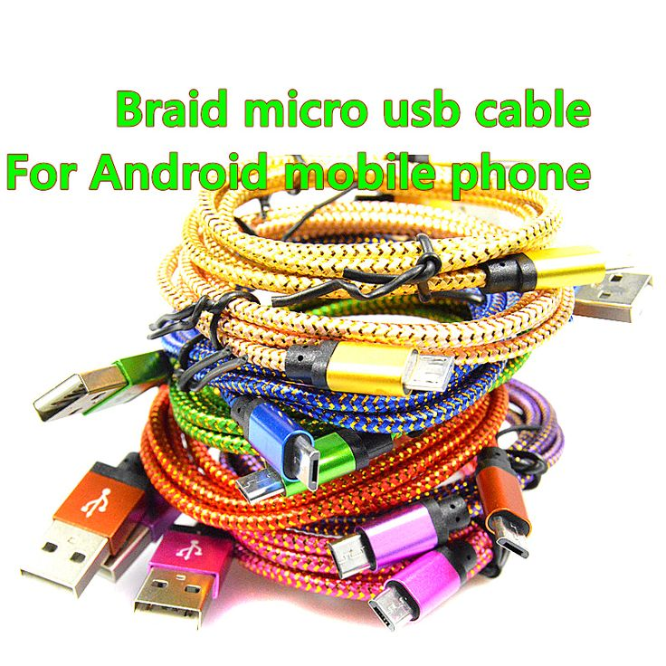 1M/2M Micro USB Cable Charger Data Sync Nylon USB Cable For Android Smart Phone for tablet PC