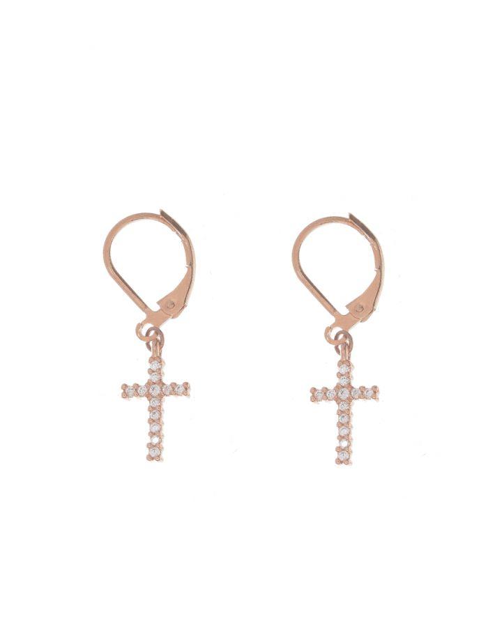 Boucles d'oreilles croix strass or rose Lou