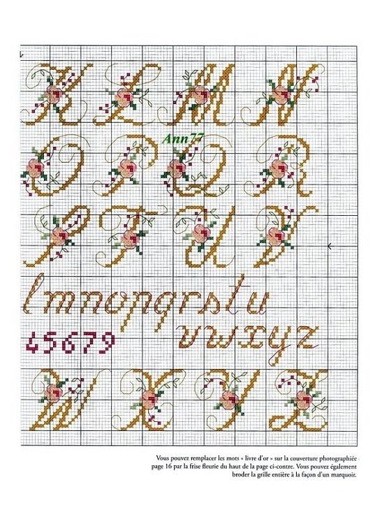 Alfabeto fiori punto croce 2