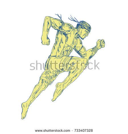 Drawing sketch style illustration of a Muay Thai Fighter Kicking jumping viewed from side on isolated background.   #muaythai #sketch #illustration