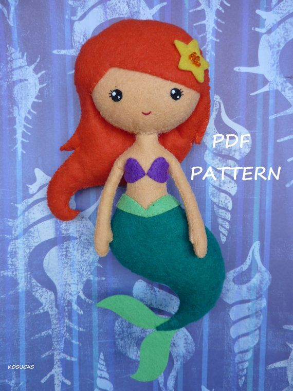 PDF sewing pattern to make the doll felt inspired the little Mermaid 7.8 inches tall. It is not a finished doll. Includes tutorial with pictures and step by step explanation For hand sewing. Difficulty: medium Instructions in Spanish-English. Things to do with this pattern can be sold in your
