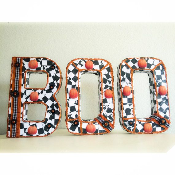 BOO Checkered Halloween Letters  by HollywoodRose on Etsy