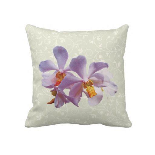 Delicate Pink Orchids Throw Pillow