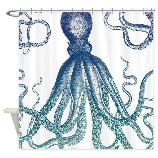 Octopus Beach Shower Curtain from BeachThemedShowerCurtains.com