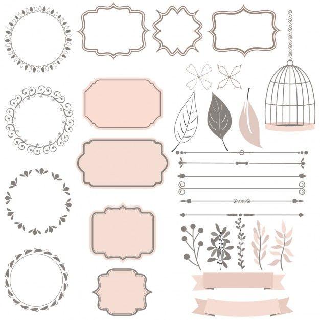 coleção bonito de elementos de decoração Vetor grátis