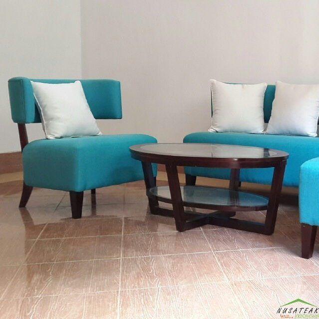 Modern #Minimalist #Teak #Sofa Set with Blue Linen Adhit by #NusaTeak  PIN: 7658A033 Call WA: 6281908021000 Inquiry: info@nusateak.com Site: NusaTeak.com  #Mebel #Furniture #Meuble #Home #Decor #Interior #MinimalistSofa #HomeDecor #ModernSofa #HomeInterior #TeakSofa #CoffeeTable #FurnitureDesign #InteriorDesign #Design