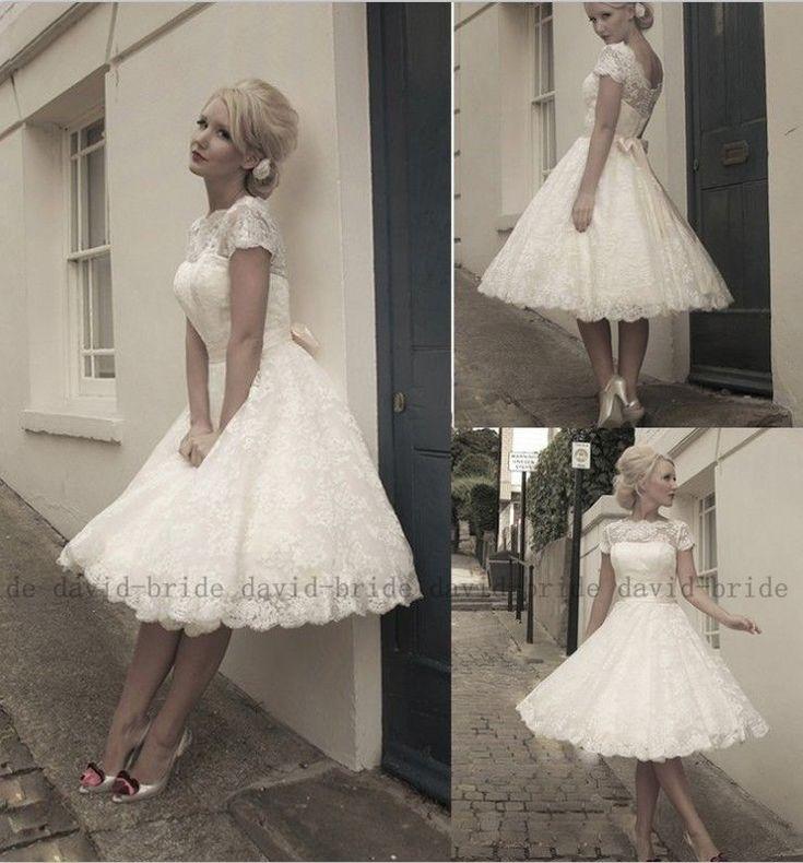 Neu Maßgeschneidert Weiß/Elfenbein Kurz Spitze Brautkleid/Hochzeitkleid Gr:32-48