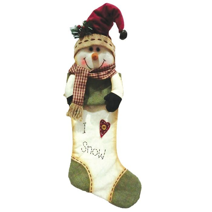 Bota de Natal Boneco de Neve Rústico 47,5cm