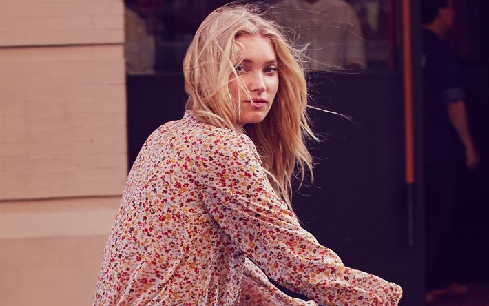 Download wallpapers Elsa Anna Sofie Hosk, portrait, Swedish top model, girl on a bicycle, young woman, fashion model, Victorias Secret