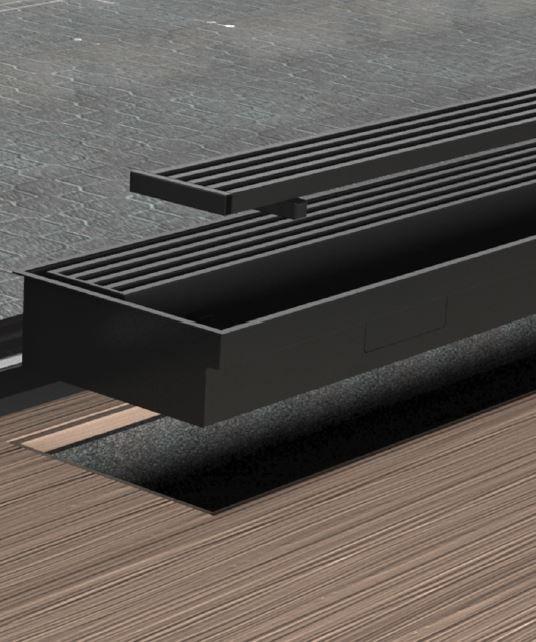 Vloerconvector compleet met stalen omkasting en uitneembaar rooster. Bijzonder goed schoon te houden.