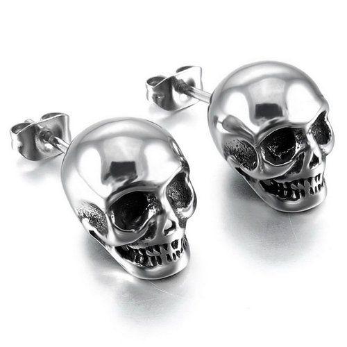Men's Stainless Steel Stud Earrings Silver Skull Gothic