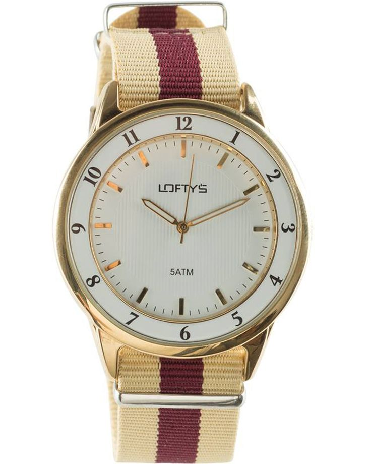Watch with Two Tone Fabric Strap (Red - Gold) Y 3404RG - https://www.loftyswatches.com/shop/watch-fabric-strap-red-gold-y-3404rg/