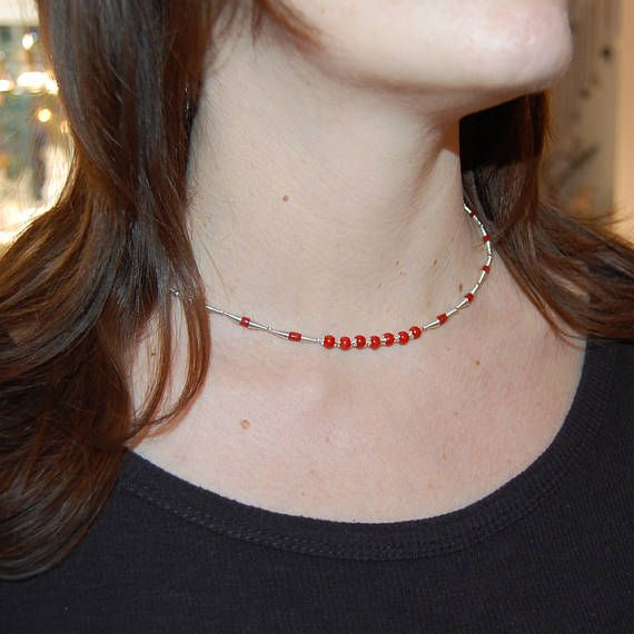 Red coral necklace Red coral choker Dual wear jewelry