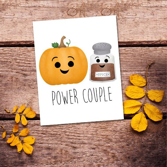 Power Couple Digital 8x10 Printable Poster Funny Pumpkin Spice Latte I Love You Fall Autumn