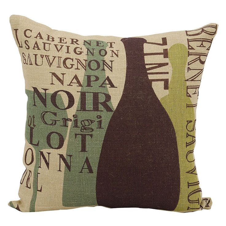 Mina Victory Lifestyles Wine Vintages Jute Throw Pillow, Natural