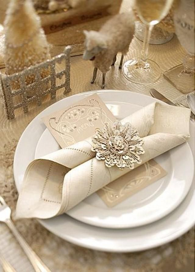 Elegant winter wedding place setting. Photo Source: Brabourne Farm