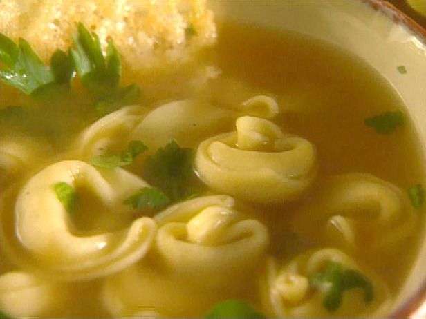 Cheese Tortellini in Light Broth. Or try with chicken tortellini. Really easy. Add Parmesan at end! Nice and warm!