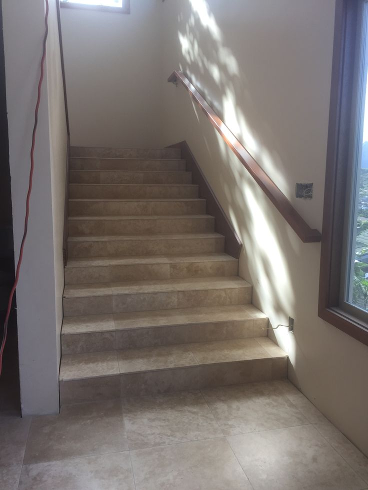Best Entry Stairs Travertine Stairs With Mahogany Skirt And 400 x 300