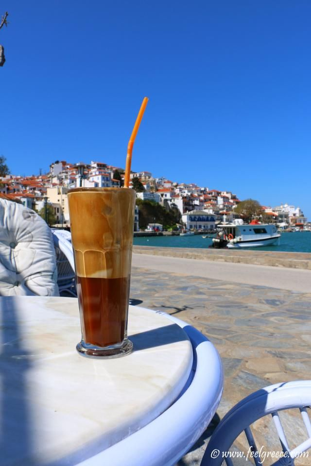 Frappe at Skopelos Chora seafront