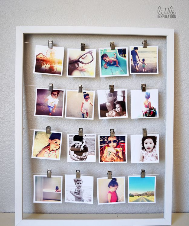 Turn clips and some string into an IRL Instagram page. | 27 Unique Photo Display Ideas That Will Bring Your Memories To Life