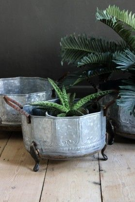 Galvanised Set Of Three Planters
