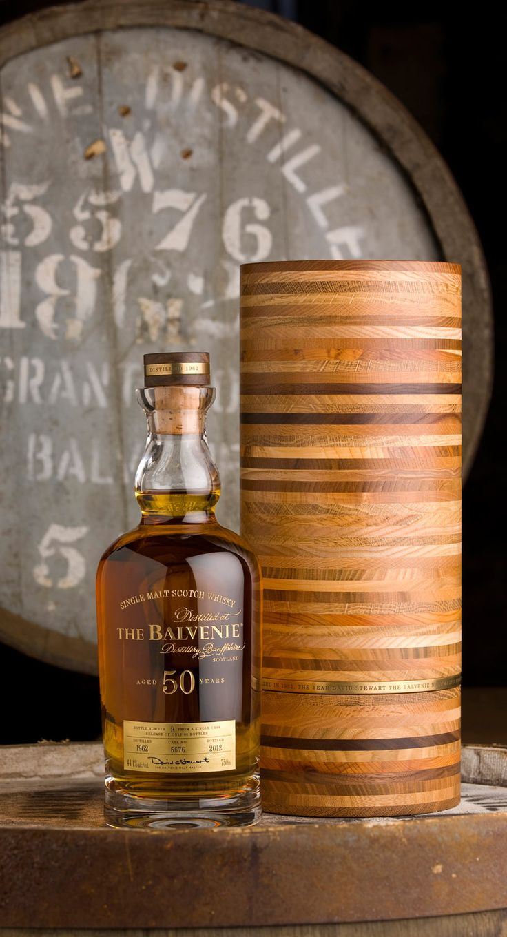 The Balvenie's 50 year old whiskey. Cased in hand-blown glass and housed in a hand-crafted wood box.