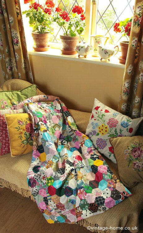 Patchwork and Geraniums in the Cottage Sitting Room