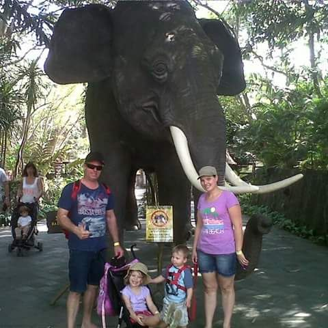 Friends from Australia enjoying a family day at the Bali Safari and Marine Park