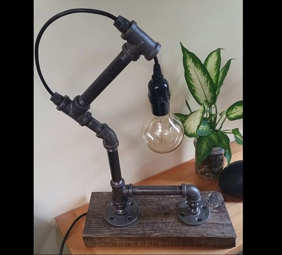 Black Iron Pipe Edison Bulb Reclaimed Wood Base Table Lamp One of a kind, Hand made In British Columbia Canada 22x 13x 5